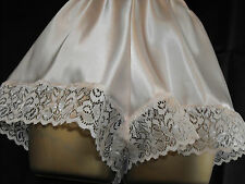 NEW SATIN AND LACE FRENCH KNICKERS SOFT PEACH 10 12 14 16 18 20 22 24 PEACH