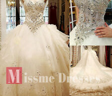 2013 White Straps Beads SWAROVSKI Luxury Crystal Cathedral Train Bridal Gowns