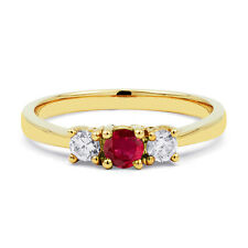 Ladies 18ct Yellow Gold Ruby & Diamond Trilogy Engagement Ring - All Sizes