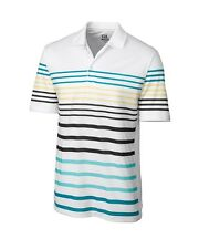 CUTTER & BUCK Mens Golf CB DryTec PRINTED STRIPE Polo Shirt  select size & color