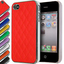 Stitched Back Hard Case for Apple iPhone 4S/4 Quilted Leather Metal Chrome Cover