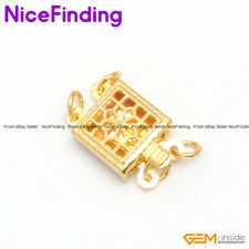 2 Strands Filigree Yellow Gold Plated Box Clasp