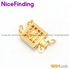 2 Strands Filigree Yellow Gold Plated Box Clasp Jewelry Making Findings GP0016