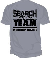 SAR -Search & Rescue: MOUNTAIN RESCUE TEAM Screen Printed T-Shirt, ATHLETIC GREY
