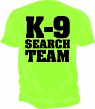 SAR - K9 SEARCH & RESCUE TEAM Screen Printed T-Shirt SAFETY GREEN & BLACK