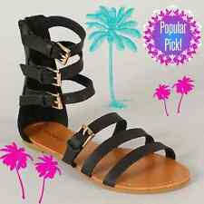 Women's NEW Man-made Leather Flat Gladiator Sandals Strappy Buckles Black