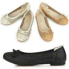New Womens Ribbon Summer Ballet Low Heels Flats Loafers Slip-On Shoes Nova