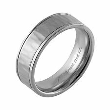 Stainless Steel Ring with Hammered Pattern and Polished Rim Finish! Many Sizes!