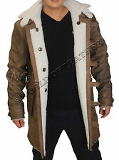 Bane Jacket Genuine Cow Hide Leather Buffing Brown Trench Coat