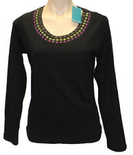 NWT W.LANE COTTON BLOUSE Women Plus Sz M, L, XL, XXL Tee Shirt Top Black RRP $50
