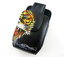 2x New OEM Ed Hardy Black Tiger Design Universal Leather Phone Pouch Case+Clip