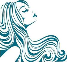 Pouting Beautiful Girl with Flowing Hair Silhouette Vinyl Wall Art Sticker