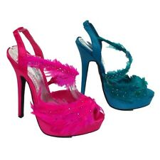 LADIES PINK TURQUOISE FEATHER SANDALS WOMENS HIGH HEELS PARTY SHOES SIZE 3-8