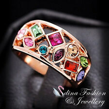 18K Rose Gold Plated Made With Swarovski Crystal Hollow Out Multicolor Ring