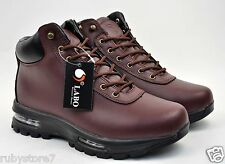 LABO Men's Red Brown Hiking Winter Boots Shoes Leather Air Heel Medium(D,M) 5812