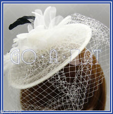 Sinamay Church Wedding Feather Veil Beret Cocktail Hat Fascinator MULTICOLORS Y1