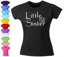 Girls Diamante Fitted T-Shirt Little Sister with Flower Design Bling 12 Colours