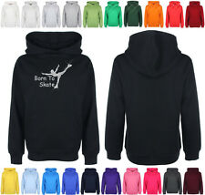Add a name 4 FREE Childrens Diamante Born to Skate Hooded top Bling Hoodie