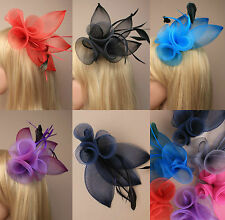 Large Feather Comb Fascinator Ladies Day Weddings Races Royal Ascot