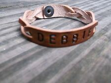 Mystery Braid Leather cuff with Custom Name Bracelet Bracelets