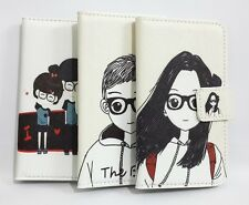 Lovely Cartoon Glasses Girl&Boy Flip Leather Wallet Cover Case For Samsung phone