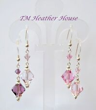 TMHH DANGLE EARRINGS W/ SWAROVSKI 10MM AMETHSYT OR ROSE CRYSTALS STERLING SILVER