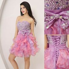 2014 Short Organza Homecoming Lace Gown Dress Short Prom Graduation Mini Dresses