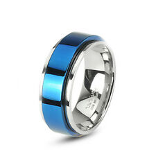 8MM High Polished Stainless Steel Ring with Blue Plated Center For Men 9139420