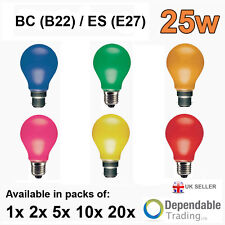 25w Coloured GLS Light Bulbs BC (B22) ES (E27) Pink Blue Yellow Amber Green Red