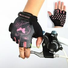 Bike Bicycle Cycling Half Finger Gloves Mesh Pink Butterfly Flower Girl Women