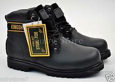KINGSHOW Men's Black Work & Safety Leather Steel Toe Boots Shoes Wide(E, W) ST-3