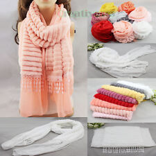 Women's Charm Solid Velvet Stripe Lace Trim Long Scarf Shawl Wrap Christmas Gift