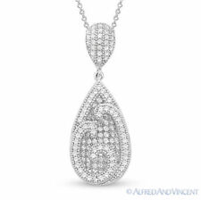 Tear-Drop Micro-Pave CZ Crystal .925 Sterling Silver Pendant and Chain Necklace