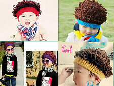 Fashion Boy And Girl Cute Beret Hat Wavy Spiral Curly Hair Piece Wig Cap C