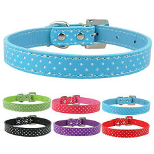 PU Leather Dog Collar Polka Dot Print Dog Collar Heart Diamond Pendants 6 Colors
