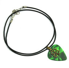 Guitar Pick Metal Four-leaf Clover Lucky Necklace 45cm Leather Cord Multi-Color
