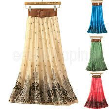 Fashion Women Girl Pleated Floral Print Bowknot Belt Chiffon Skirt Maxi Dress