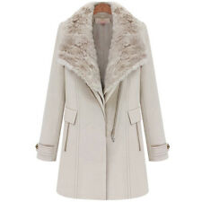 Fashion Big Fur Collar womens coat Cashmere Thick 2in1 jacket Overcoat Parka