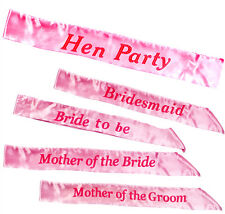 HEN PARTY SASH NIGHT OUT BRIDE TO BE BRIDESMAID PINK  SASH ACCESSORY