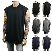 Men Tank Top A-Shirts Sleeveless Muscle Plain Crew Neck T-Shirts Lot Thick S-5X