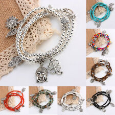 Punk Rock Gemstone Beads Dangle Charms Stretchy Cuff Bracelet Bangle Wristband