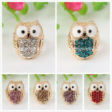 Cute Owl Colorful Crystal Golden Finger Ring Alloy Adjustable Modern Jewelry