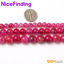 6-12mm Round Crackle Plum Agate Loose Stone Beads For Jewelry Making Strand 15""