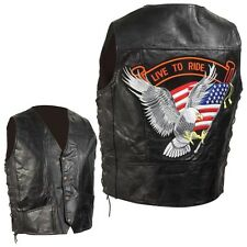 "Mens Black Leather Motorcycle Vest Eagle USA Flag ""Live To Ride"" Patch"