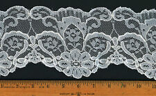 "4.5"" White Embroidered Scalloped Bridal Veil Gown Lace Trim Q144"