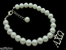 ALPHA CHI OMEGA Greek Sorority 8mm White Glass Pearl Bracelet w Extender #FBR149