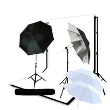 Studio umbrella 400W lighting kit white muslin backdrop Support System 10'x20'