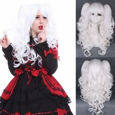 Lolita full wig curly wave clip on ponytail white hair party cosplay wig rw137g