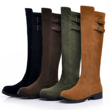 New Hot Womens Faux Suede Flat Knee High Boots Riding Boots Shoes 4 Colors size