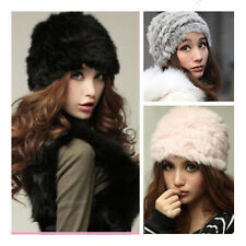 New Real Rabbit Fur Knitted Hat Cap Women Winter Warm Hats Fashion